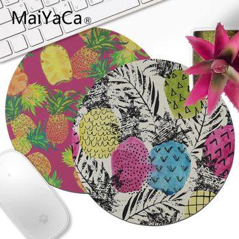 MaiYaCa, alfombrilla de ratón redonda para juegos de ordenador portátil con hojas de piña personalizadas, tapete redondo de ratón pequeño cómodo para juegos, alfombrilla de ratón