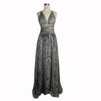 Eva Lady Women Noble Dresses Vintage Gothic Slim Fitting Backless Dress Summer Sexy V Neck Grey Long Dress
