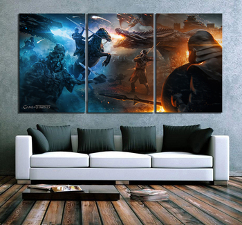 3 Piece Game of Thrones Movie Poster Paintings Fantasy Art Dragon Picture Artwork Canvas Paintings for Home Decor Wall Art