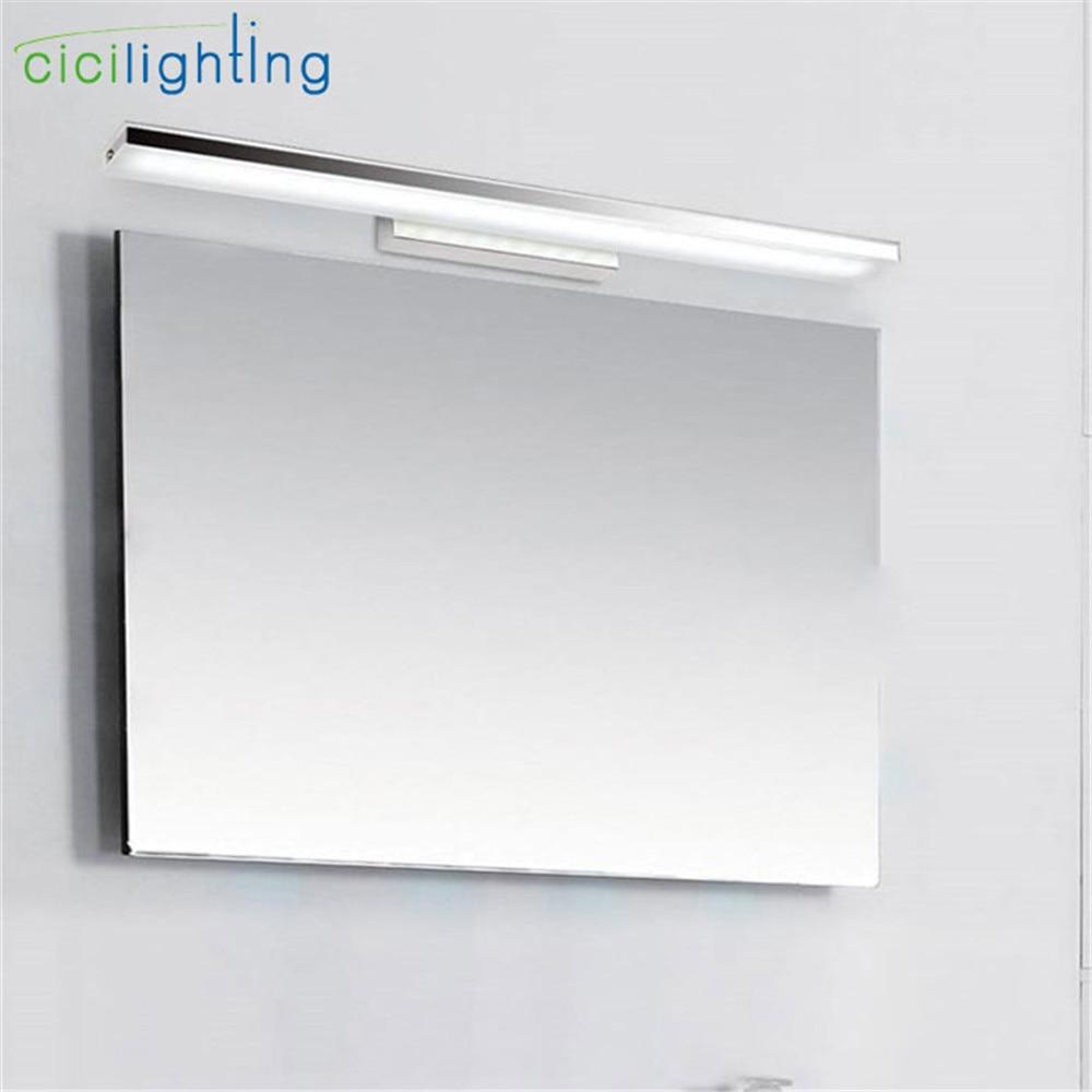 L40 / 60/80 / 100cm Mūsdienīgs akrila LED priekšējais spogulis 8/12/16 / 24W LED vannas istaba dušas tualetes sienas lampa loka vai leņķa leņķis
