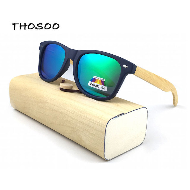 39dd3fb485 THOSOO De Bambú de Madera Gafas de Sol con Marcos y Espejos De Plástico Azul  Lente