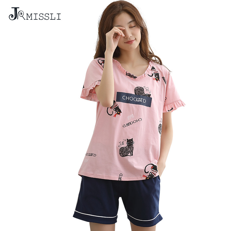 JRMISSLI Summer 100% Cotton Short sleeve pyjamas Suit female Korean Style sweet lovely Two Pieces pajamas sets loose home