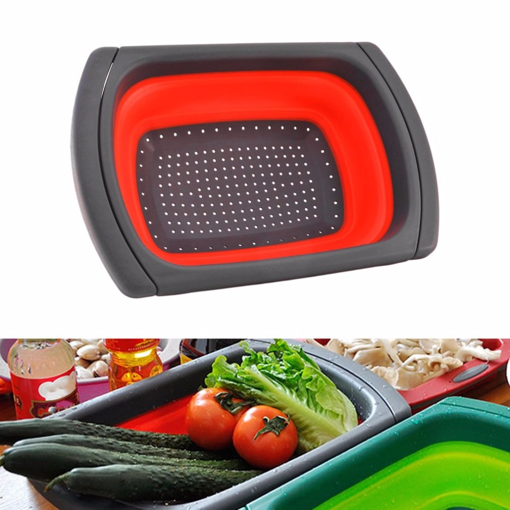 PREUP Red Plastic Folding Retractable Drain Basket Rack Water Washing Kitchen Shelf Cooking Tool Accessory New Hot