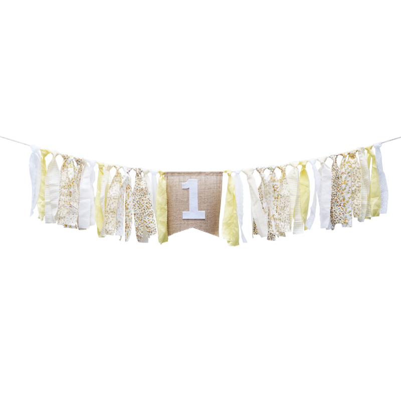 Light Yellow Ribbon Banner Birthday Party Baby Shower Flag Chair Nursery Garland Candy Bar Decoration Deco Anniversaire