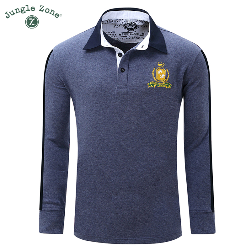 2017 autumn new men's long-sleeved POLO shirt explosion models lapel solid middle-aged men's casual POLO shirt FM051