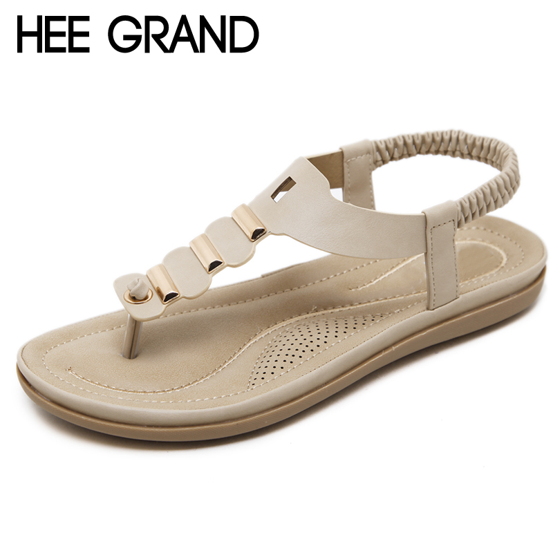 HEE GRAND Flip Flops Summer Metal Decoration Shoes Woman Fashion Flat With Gladiator Elastic Band Sandals Size 35-42 XWZ4851 hee grand women gladiator sandals simple flat with buckle flip fflops woman summer casual shoes xwz3789