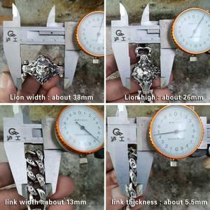 Image 3 - LINSION Details 925 Sterling Silver Lion Chain Mens Biker Rock Punk Bracelet TA146
