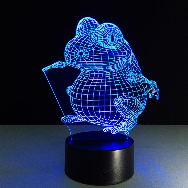 Frog LED 3D Night Lights Creative Ambient Light Desk Lamp Home Lighting Bulbing Color Change Luminaria Kids Gifts creative frog style keychain with lights