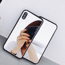 Mirror Phone Case For iPhone 11 Pro Max XS MAX XR 6 6S 7 8 Plus X TPU PC Shock-proof Cover Cosmetic Glass Coque