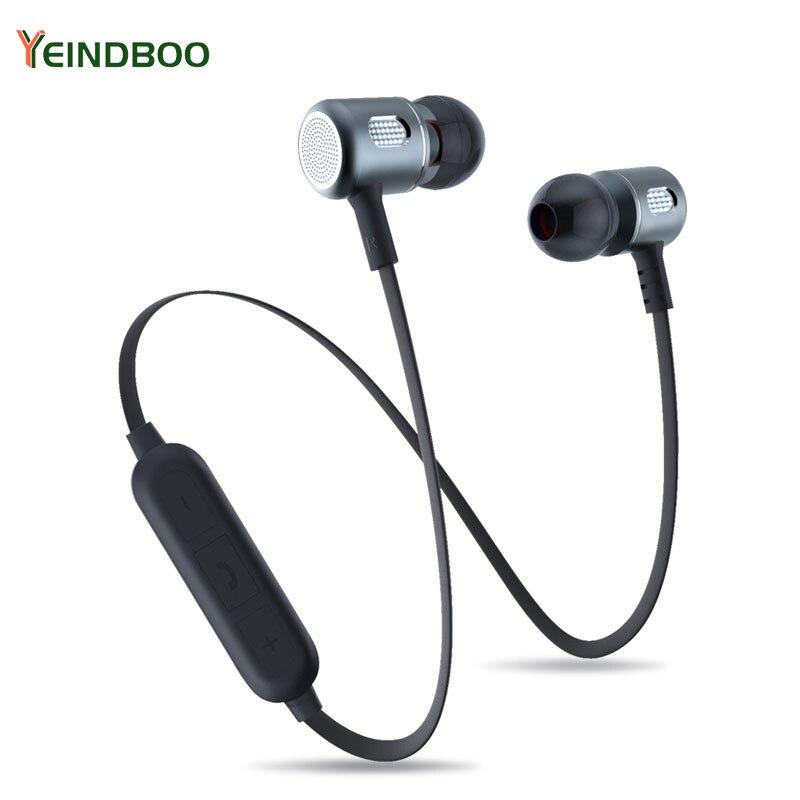 YEINDBOO Bass auriculares Bluetooth inalámbrico en la oreja deportes auriculares con micrófono para Xiaomi iPhone Samsung auriculares