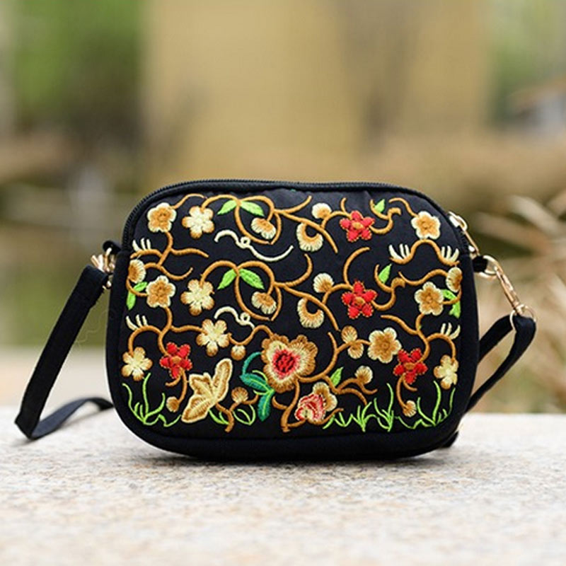 Hot Selling 2017 New Women National Style Flower Embroidery Canvas Shoulder Bag Messenger Bag China Trend -B5
