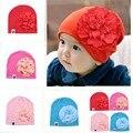 2016 Moda Bebê Chapéu de Malha de Algodão Quente Confortável Flor Da Criança Do Bebê Cap Crianças Menina Menino Miúdo Chapéus