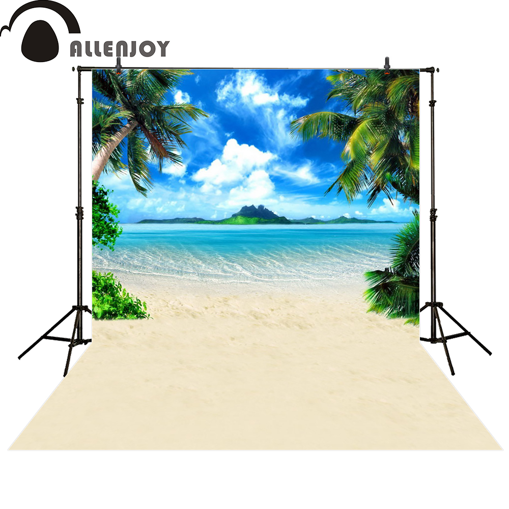 Allenjoy photo backdrops beach Waves coconut tree blue sky cloud photocall photographic photo studio photobooth fantasy allenjoy scenery photo backdrop island coconut tree clouds beach photocall studio background for a photo shoot vinyl cloth