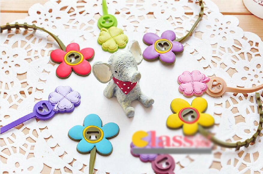 5pcs/lot Clover flower shape Headphone Earphone Cable Wire Organizer Cord Holder USB Charger Cable Winder For iphone samsung
