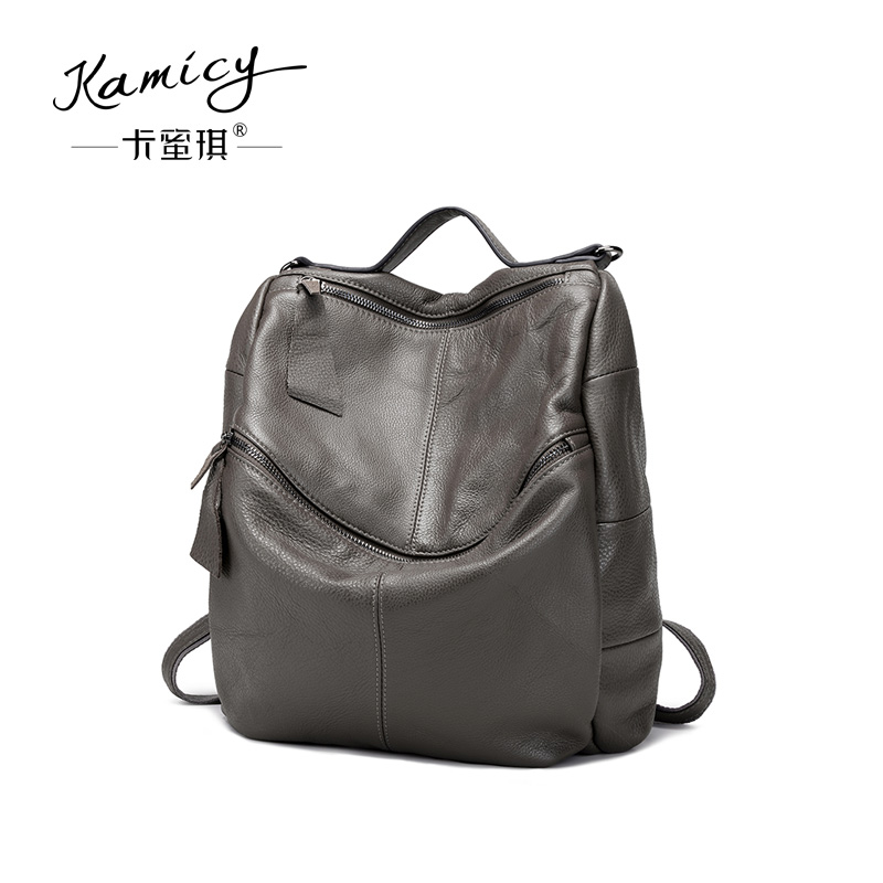 Kamicy 2018 New style double shoulder bag head layer cowhide bag double shoulder  bag casual outdoor knapsack multi-purpose bag 72bc6968d8b35