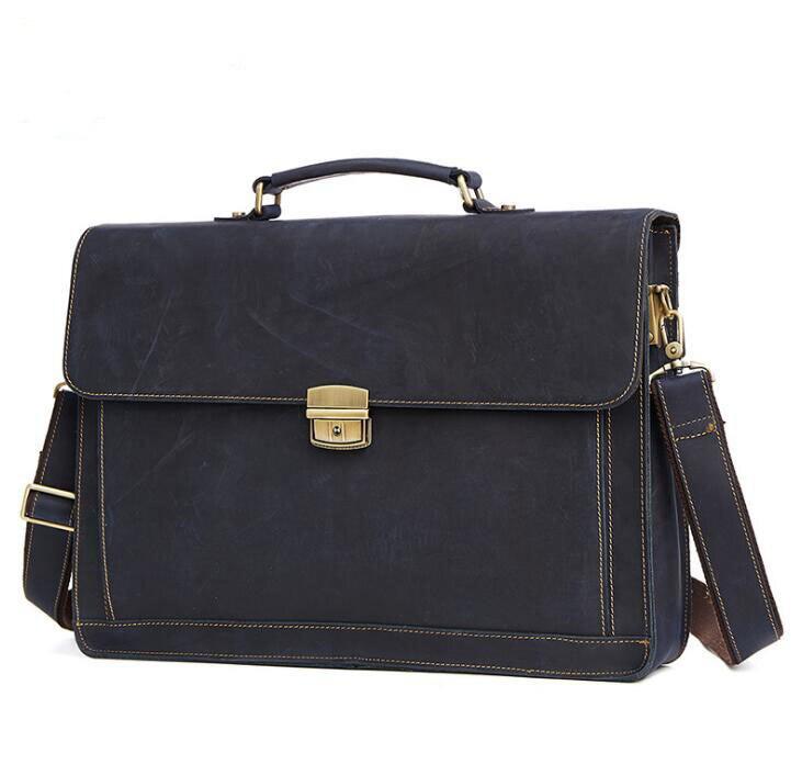 "Купить с кэшбэком Vintage Fashion Brand Designer Crazy Horse Leather Men Handbags 15"" Laptop Shoulder Bag Genuine Leather Casual Men Briefcase"