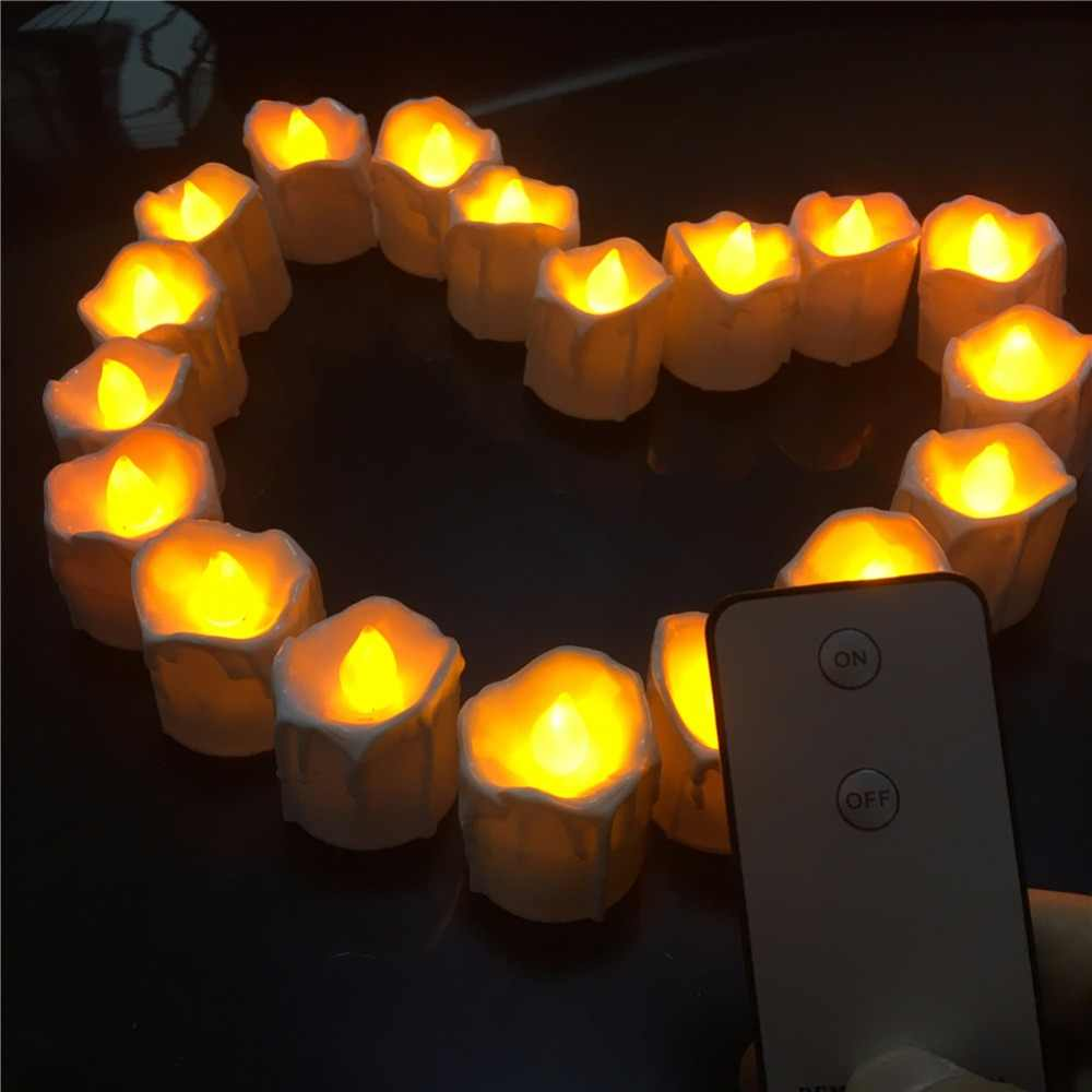 Chandelle Bougie Pack Of 12 Tear Drop Flameless Led Candles Remote Control Bougie Bulk Velas Electric Candles Chandelle Wedding Decoration