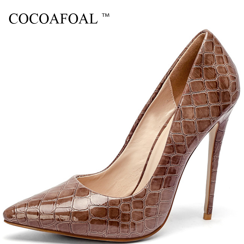 COCOAFOAL Women's Pumps High Heels Shoes Snakeskin Party Woman Shoes Plus Size 33 43 Pointed Toe Fashion Sexy Pumps Stiletto cocoafoal woman pointed toe pumps pink black brown fashion sexy high heels shoes snakeskin genuine leather career pumps 2017