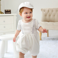 2019 Baby Boy Romper White Christening Outfit with Hat Baby Boy Summer Jumpsuit and Overall 1st Birthday Onesie