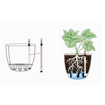 """11 \""""พลาสติก Self Watering Planter น้ำตัวบ่งชี้ระดับสีดำ, โมเดิร์นตกแต่งหม้อสำหรับพืชบ้านดอกไม้"""