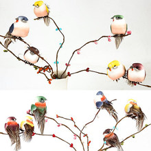 Random Color Artificial Foam Feather Simulation Bird DIY Party Crafts Magnet Decorative Doves Artificial Foam Feather(China)