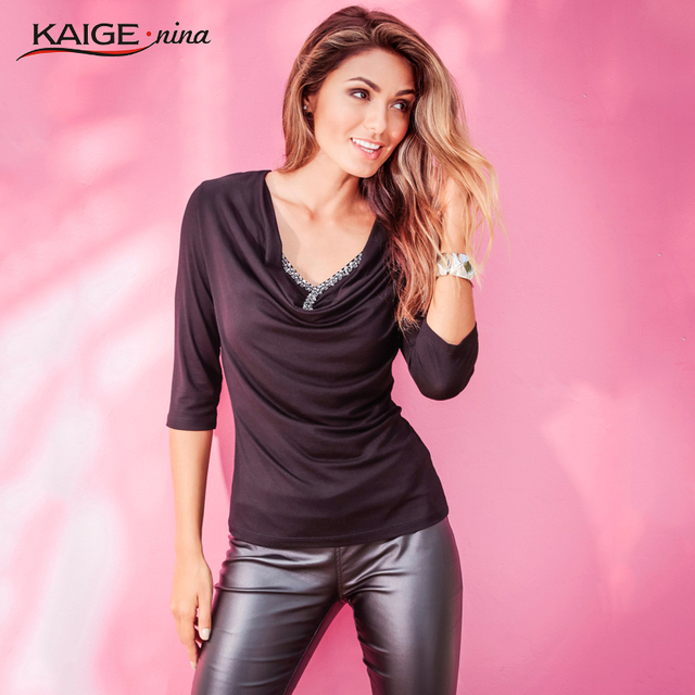Kaige.Nina New Fashion Simple Pure Color V-neck 5 Minutes Of Sleeve Beaded Decorations Jumper Ms Autumn Coat 9105