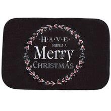 Happy Gift Creative Design Holiday Welcome Mat Outdoor Indoor Festival Christmas Decor Doormat Good Coral FleeceBlack