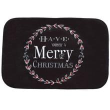 Happy Gift Creative Design Holiday Welcome Mat Outdoor Indoor Festival Christmas Decor Doormat Good Coral FleeceBlack wreath