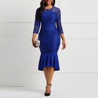 Clocolor Blue Round Neck Bodycon Dress Cheap Women's Lace Mid Calf Dresses Cheap Fashion Ladylike Party Falbala Office Dress