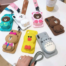 Cute Cartoon 3D Bear Wallet Phone Case For iPhone X XR XS Max 7 8 Plus Soft Silicone Cover For iPhone 8 7 6 6S Plus Back Capa(China)