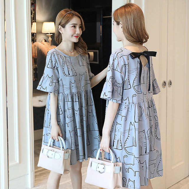 5656527085a8c New Fashion Maternity Dress Cute Cat Dresses Summer Wear Premama Dresses  for Pregnant Wome Pregnancy Clothing Cotton Maternidad