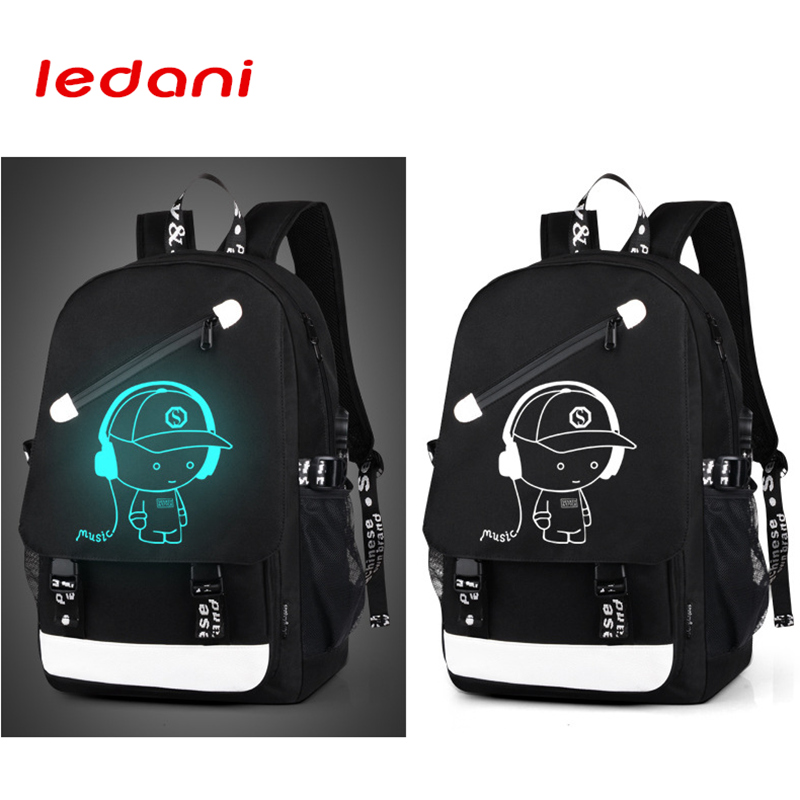 LEDANI Brand Men Luminous Backpacks USB Charge Backpack Anti-theft Computer Bags School Casual Travel Canvas Backpack One Piece men usb charge backpack anti theft laptop backpacks large capacity fashion school bags boys teenager casual rucksack bag bp0165