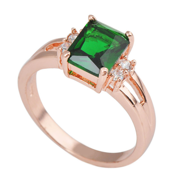 Aliexpress Buy Cheap Engagement Rings Anel Aneis Sz5 6 7 8 9 10 Green Stone Jewelry Rose