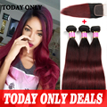 Peruvian Straight Virgin Hair Bundle Deals Ombre Human Hair With Closure Peruvian Virgin Hair With Closure 1b 99j burgundy Hair