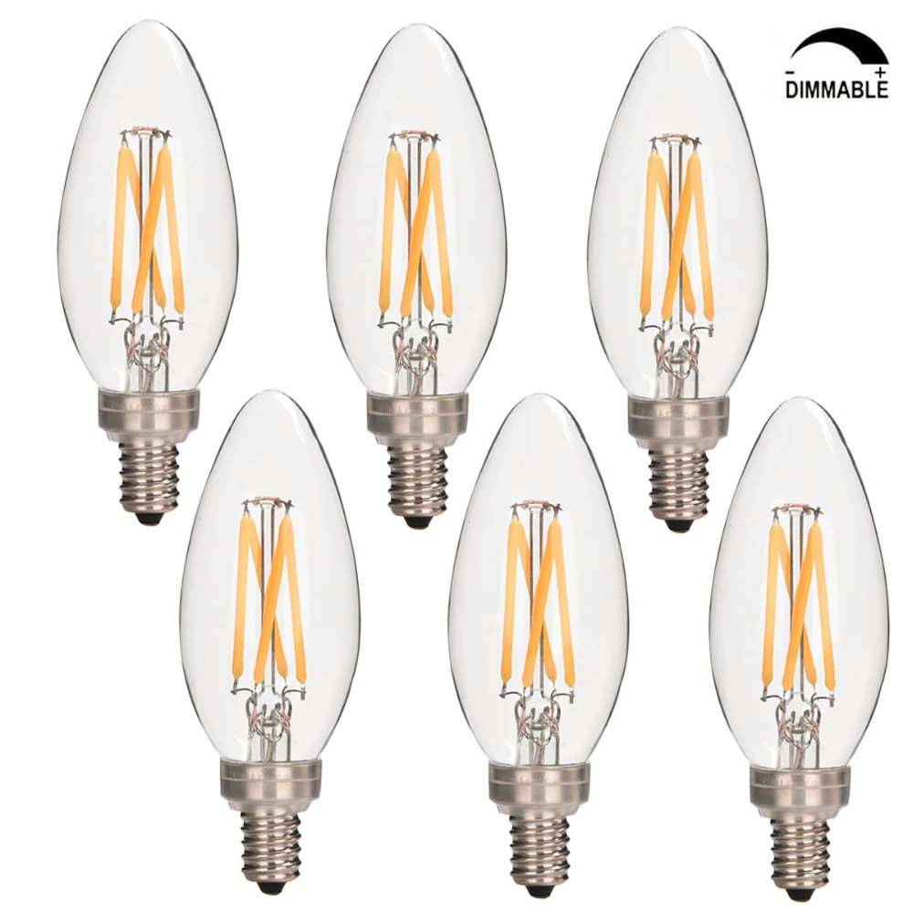 candelabra led filament bulbs dimmable 40w equivalent 2700k warm white chandelier b11 led bulb e12