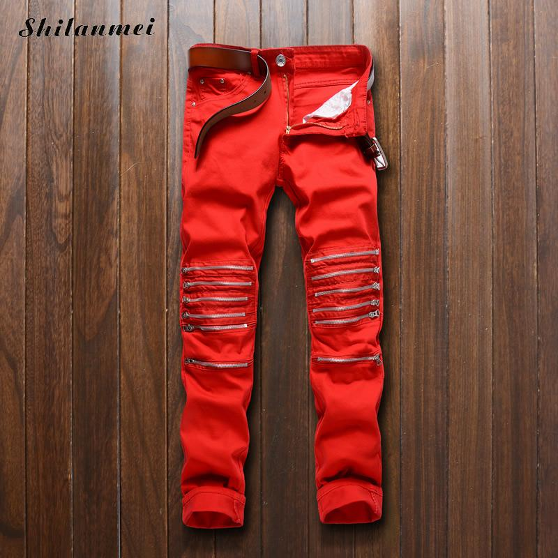 ФОТО Hot Sale Red Jeans Men High Quality Biker Jeans 2017 New Designer Fashion Denim Overalls Brand Clothing Slim Fit Casual Pants