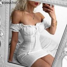 WannaThis Lantern Sleeve Bandage Dress Cotton Linen Butterfly Neck Sexy Casual Elegant Short 2019 Summer Sweet Women Dresses