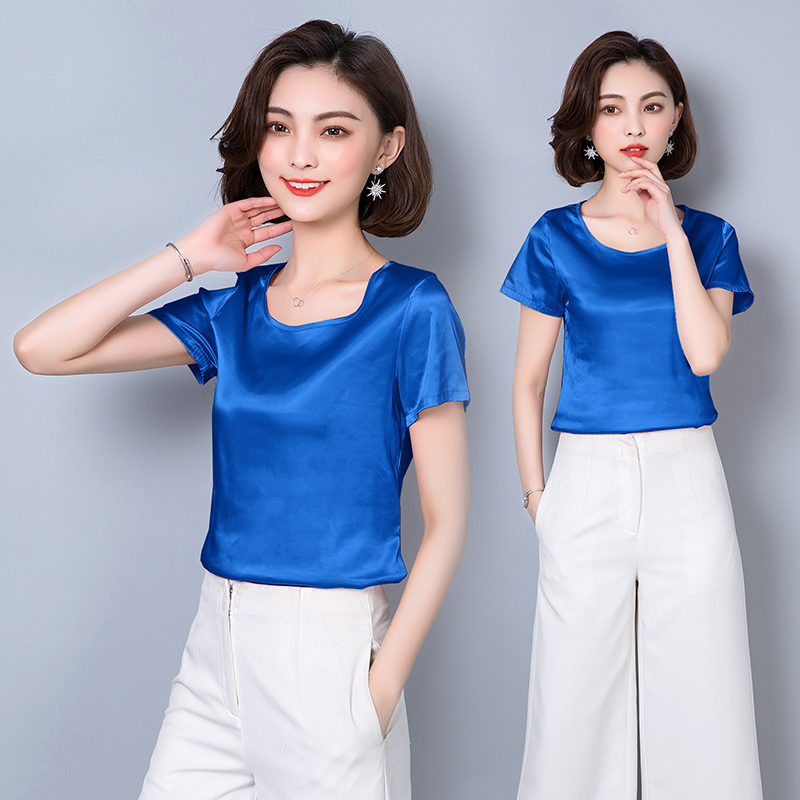 66f3946529498 Aliexpress.com   Buy Women Blouses Casual OL Silk Blouse Autumn Loose Basic  Satin Shirt Work Wear Blusas Feminina Tops Shirts Plus Size XXXL Pink Red  from ...