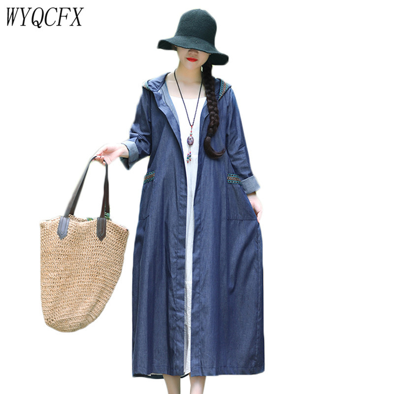 Denim   Trench   Coat Women Vintage Casual Long Hooded Overcoat Female 2019 Fashion Thin Jeans Solid Color Temperament Cardigan