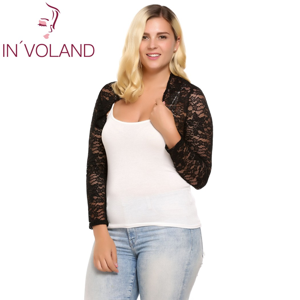 IN'VOLAND Women Cardigan Tops Plus Sizes Autumn Long Sleeve Floral Mesh Front Open Jacket Short Slim Casual Tops Oversized 5XL