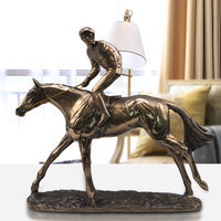 Retro Single Horse Racing Statue Animal Jockey Resin And Copper Art&Craft Home Decoration Sports Souvenir L3214