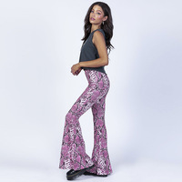 7Mang 2019 Sexy Snake Print Pink Flare Pants Elastic High Waist Pants Women Capris Casual Club Party Soft Fashion Trousers 0225