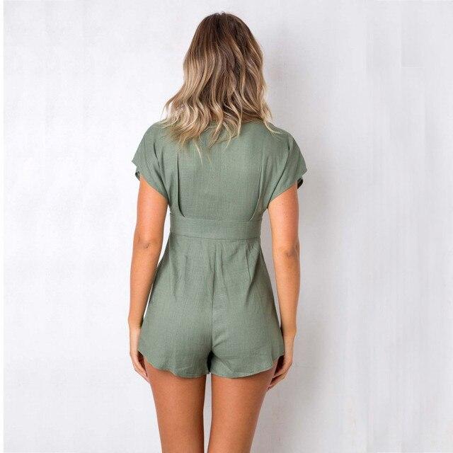 yinlinhe Green Short jumpsuit Women rompers Short Sleeve V neck Sexy Button Playsuit Summer Cotton Linen loose overalls      306 3