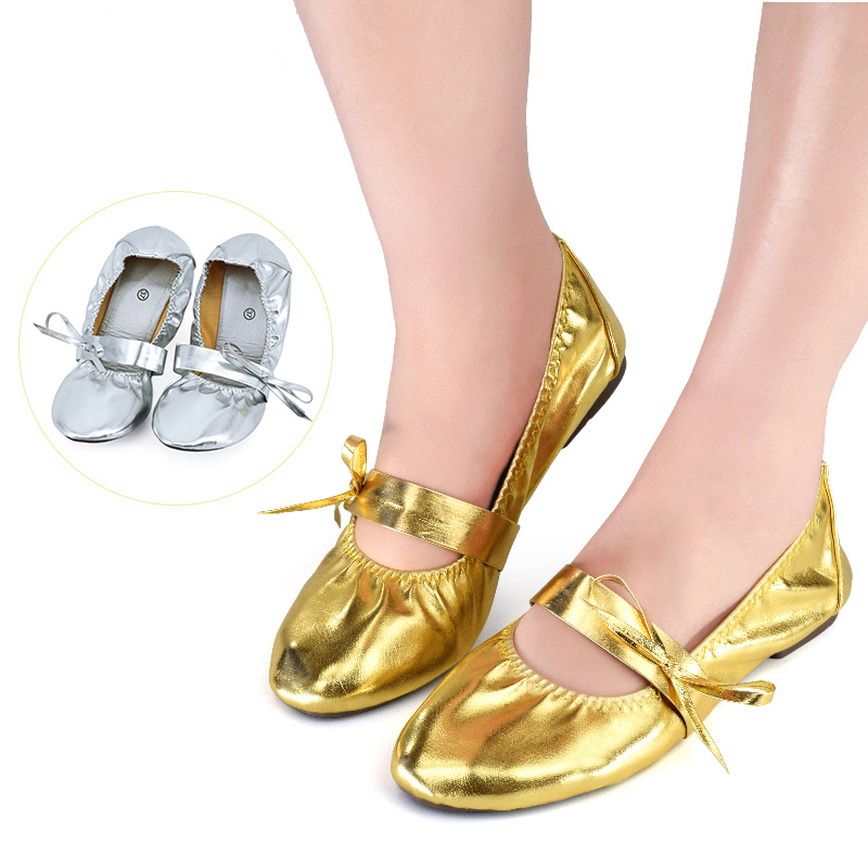 Show details for Women Dance Shoes Golden Silver Cow Muslce Soft Sole PVC Leather Belly Dance India Dance Shoes Girls