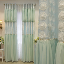 New Romantic Korean Style Custom Made Luxury Princess Curtains Embroidery Gauze Curtains Living Room Cortinas with Lace for lady