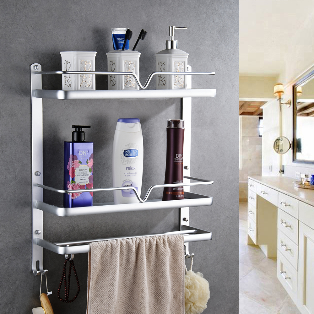 Bathroom shelf space aluminum towel rack bathroom toilet wall hanging towel rack bathroom hardware accessories 2 layers sn1516 rab donolux