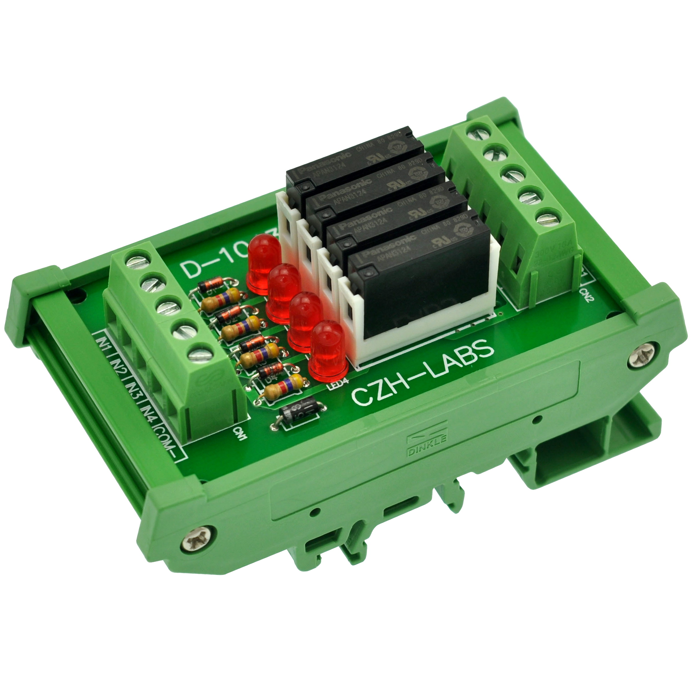 Slim DIN Rail Mount DC24V Source/PNP 4 SPST-NO 5A Power Relay Module, APAN3124Slim DIN Rail Mount DC24V Source/PNP 4 SPST-NO 5A Power Relay Module, APAN3124