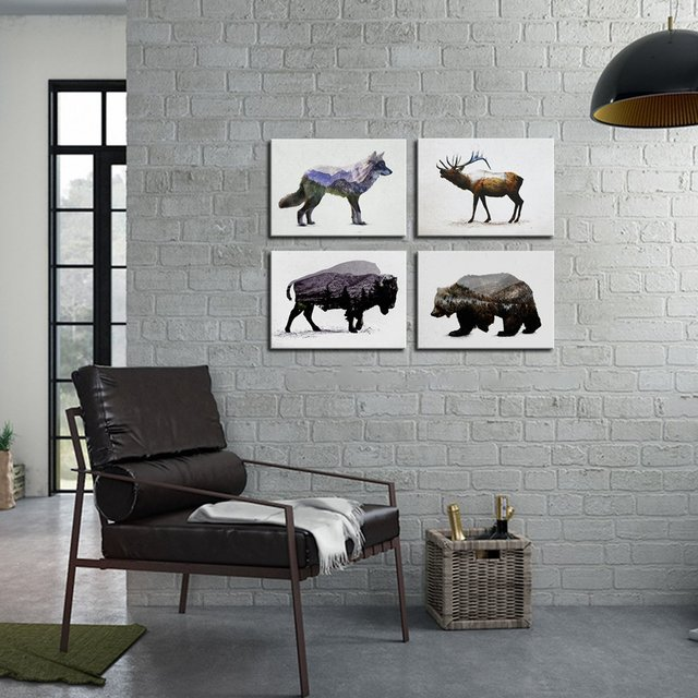 Abstract Animals Patterned 4 Panels Poster