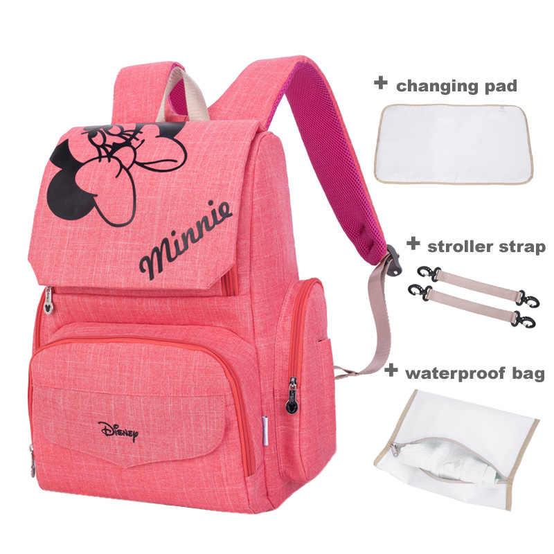 Bolsa de pañales mochila de maternidad Mini ratón Mickey Mouse 4 unids/set = bolsa de pañales de bebé + almohadilla de cambio + correa para cochecito + bolsa impermeable