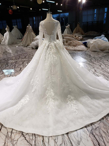 Image 3 - HTL187G פשוט חתונה שמלות ארוך שרוול בעבודת יד פרחי אפליקציות גדול o צוואר שמלת כלה 2020 אופנה חדשה vestido דה noiva